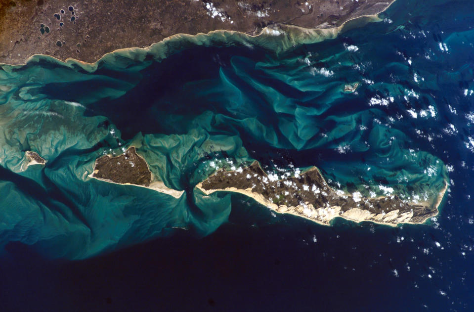 This image shows the beauty of Bazaruto Island, St. Antonio Island and Magaruque Island in the Mozambique Channel from above. The breathtaking shot was taken by astronaut Clayton Anderson aboard the International Space Station. Photo credit: Nasa