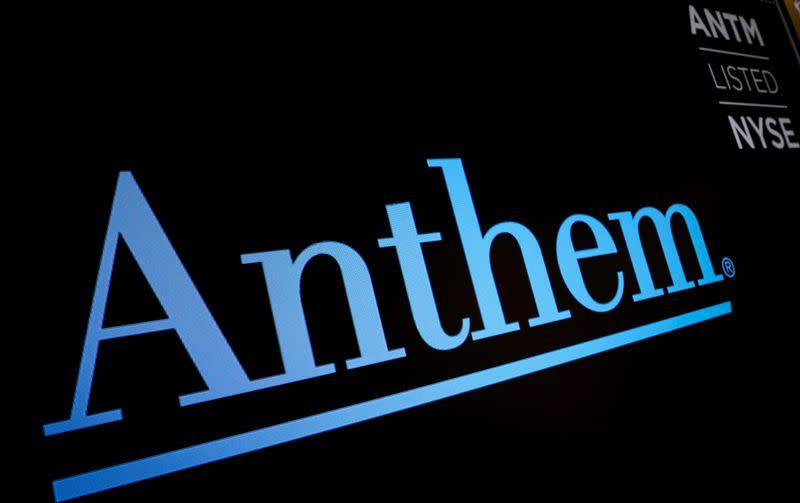 The logo for health insurance provider, Anthem, is displayed on a screen on the floor at the NYSE in New York