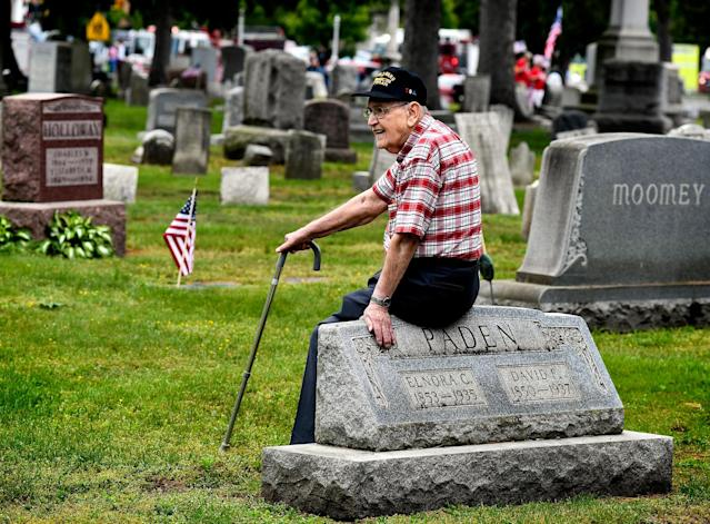 <p>World War II Navy Veteran Maurice Ford, 93, waits in the Pine Grove Cemetery in Berwick, Pa., for a service in the cemetery on Sunday, May 28, 2017. He said that he had three brothers who also served during World War II. He is the only one still living. (Bill Hughes/Bloomsburg Press Enterprise via AP) </p>