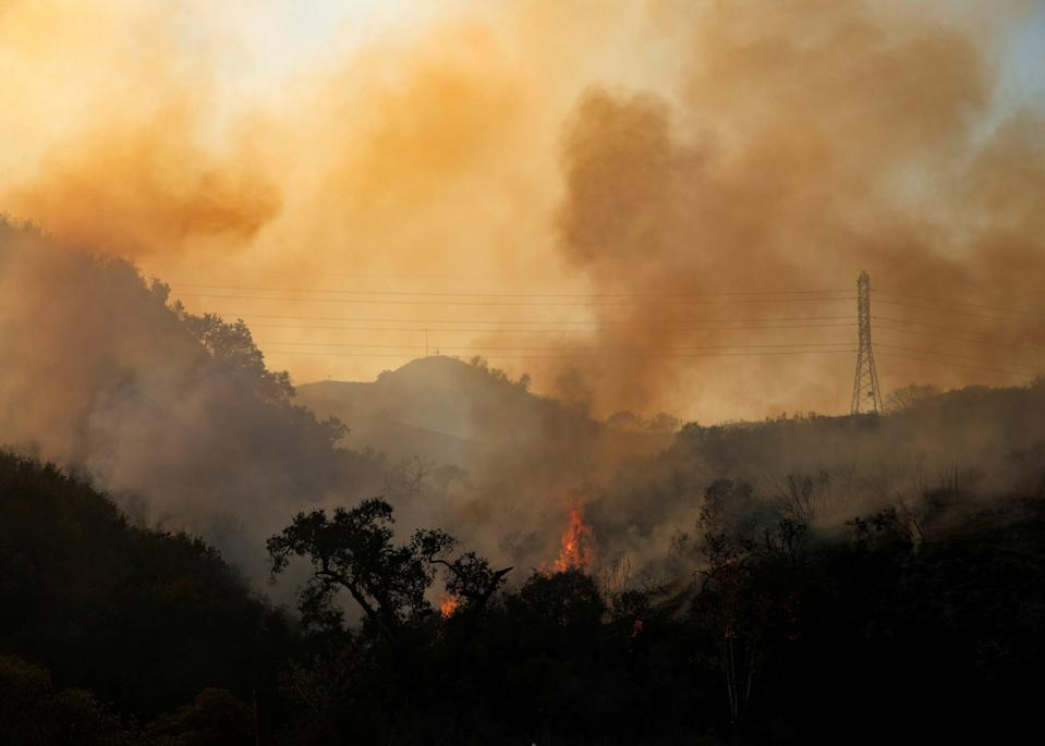 The Bond Fire wildfire continues to burn next to electrical power lines near Modjeska Canyon, California (REUTERS)