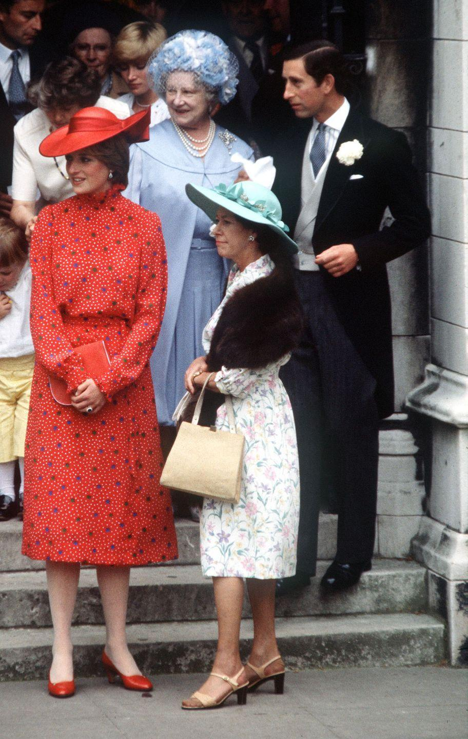 <p>Princess Margaret with Princess Diana, the Queen Mother, and Prince Charles at the wedding of Nicholas Soames. </p>