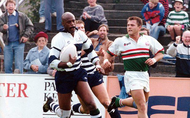 Ralph Knibbs in action during his rugby career. - Credit: SWNS
