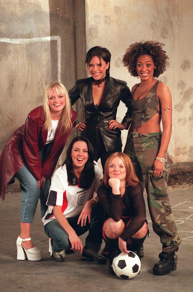LONDON - 1996: (UK NEWSPAPERS OUT WITHOUT PRIOR CONSENT FROM DAVE HOGAN. PLEASE CONTACT SALES TEAM WITH ENQUIRIES) L to R Emma Bunton, Melanie Chisholm, Victoria Adams, Geri Halliwell and Melanie Brown from The Spice Girls film the Euro 96 theme song video. (Photo by Dave Hogan/Getty Images)