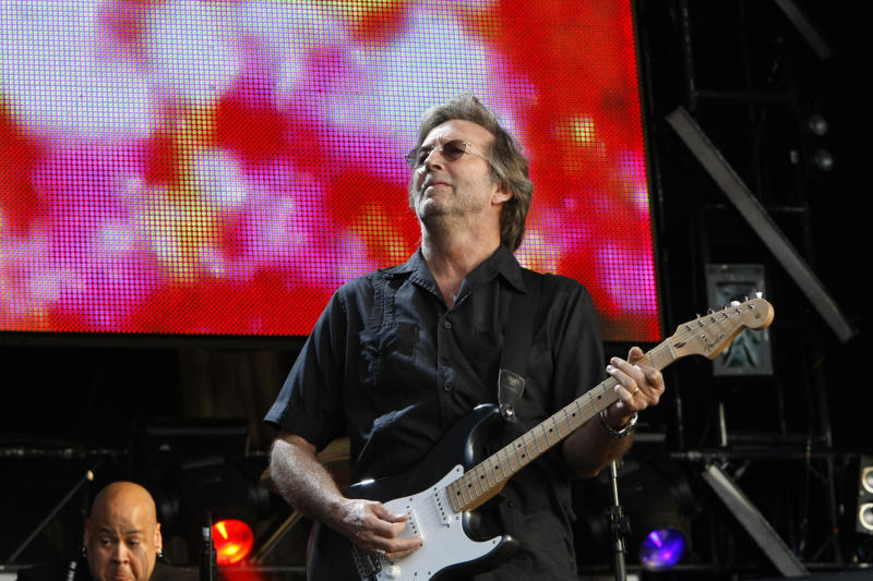 UNITED KINGDOM - JUNE 28: HYDE PARK Photo of Eric CLAPTON, performing live onstage at Hard Rock Calling, playing Fender Stratocaster guitar (Photo by Matt Kent/Redferns)