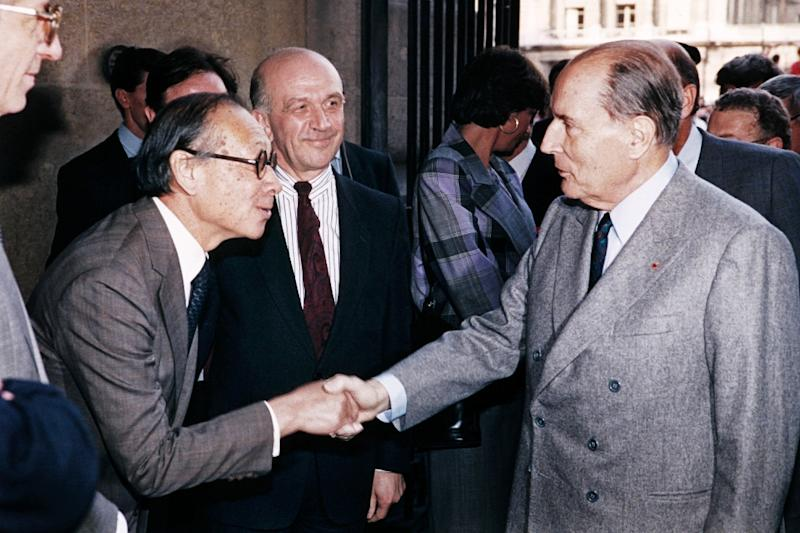 French president Francois Mitterrand insisted on using I. M. Pei to design the extention to the Louvre art gallery after seeing his work at the National Gallery of Art in Washington (AFP Photo/-)