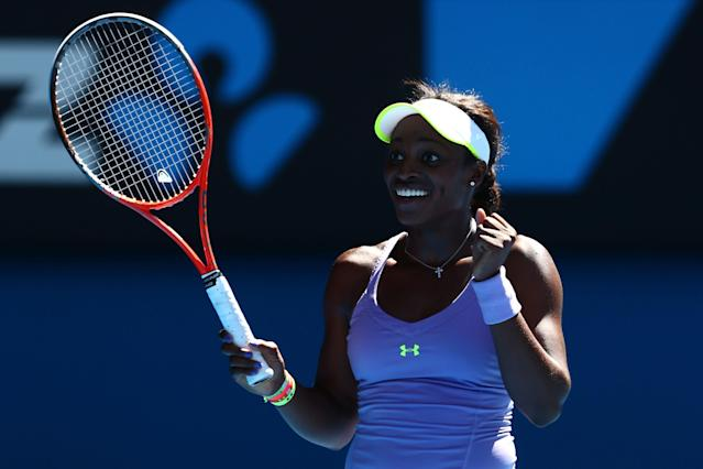 MELBOURNE, AUSTRALIA - JANUARY 23: Sloane Stephens of the United States celebrates winning her Quarterfinal match against Serena Williams of the United States during day ten of the 2013 Australian Open at Melbourne Park on January 23, 2013 in Melbourne, Australia. (Photo by Mark Kolbe/Getty Images)