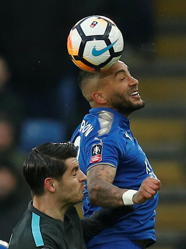 Soccer Football - FA Cup Quarter Final - Leicester City vs Chelsea - King Power Stadium, Leicester, Britain - March 18, 2018 Leicester City's Danny Simpson in action with Chelsea's Alvaro Morata REUTERS/Andrew Yates
