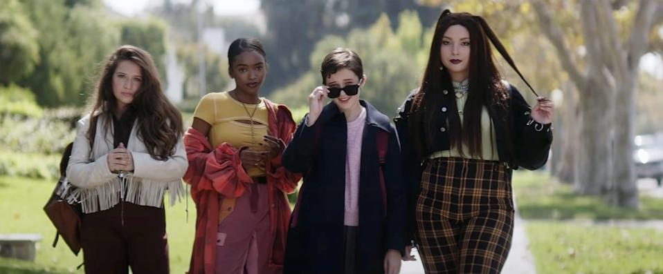 THE CRAFT: LEGACY, from left: Gideon Adlon, Lovie Simone, Cailee Spaeny, Zoey Luna, 2020.  Columbia Pictures / Courtesy Everett Collection