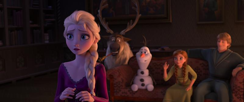In Frozen 2 Elsa is grateful her kingdom accepts her and she works hard to be a good queen. Deep down, she wonders why she was born with magical powers. (© 2019 Disney)