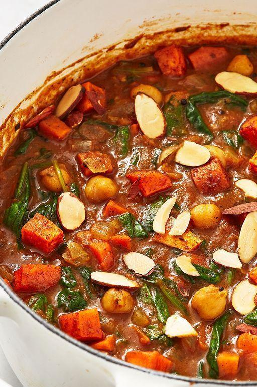 "<p>If you've got a well stocked cupboard, you should have all these ingredients already in stock. This curry is seriously worth the TLC.</p><p>Get the <a href=""https://www.delish.com/uk/cooking/recipes/a29782603/sweet-potato-chickpea-curry/"" rel=""nofollow noopener"" target=""_blank"" data-ylk=""slk:Sweet Potato And Chickpea Curry"" class=""link rapid-noclick-resp"">Sweet Potato And Chickpea Curry</a> recipe.</p>"