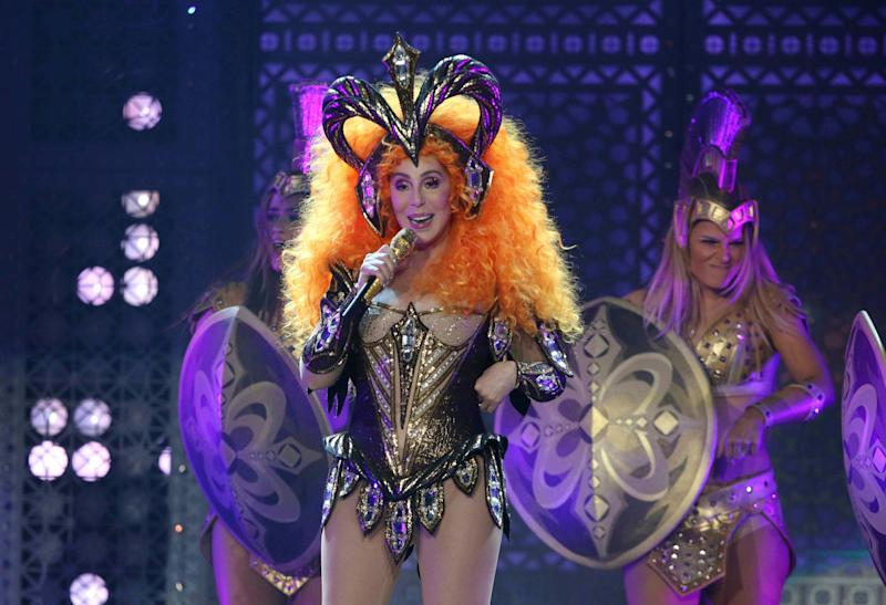 Cher performs during the Here We Go Again Tour at Infinite Energy Center on Friday, January 25, 2019, in Atlanta. (Photo by Robb Cohen/Invision/AP)