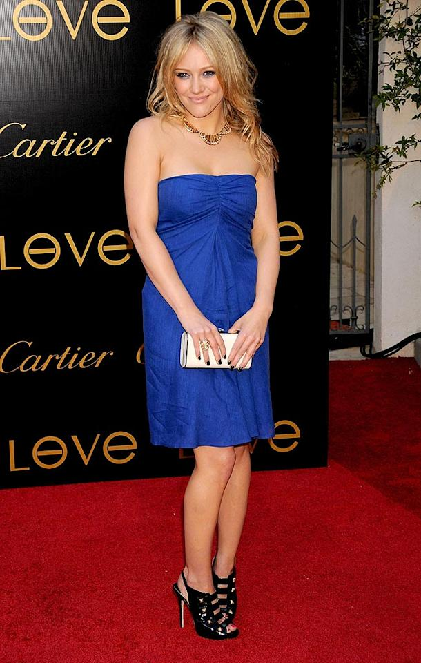 """Hilary Duff pairs her strapless blue dress with patent-leather granny pumps. Gregg DeGuire/<a href=""""http://www.wireimage.com"""" target=""""new"""">WireImage.com</a> - June 18, 2008"""