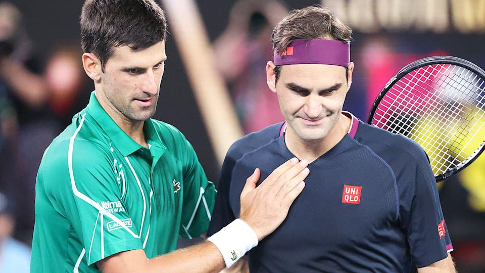 Novak Djokovic and Roger Federer, pictured here after their match at the 2020 Australian Open.