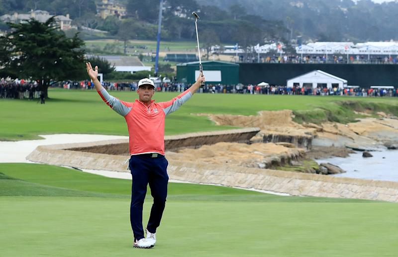 PEBBLE BEACH, CALIFORNIA - JUNE 16: Gary Woodland of the United States celebrates holing a long birdie putt on the 18th green to secure his three shot victory in the final round of the 2019 U.S.Open Championship at the Pebble Beach Golf Links on June 16, 2019 in Pebble Beach, California. (Photo by David Cannon/Getty Images)