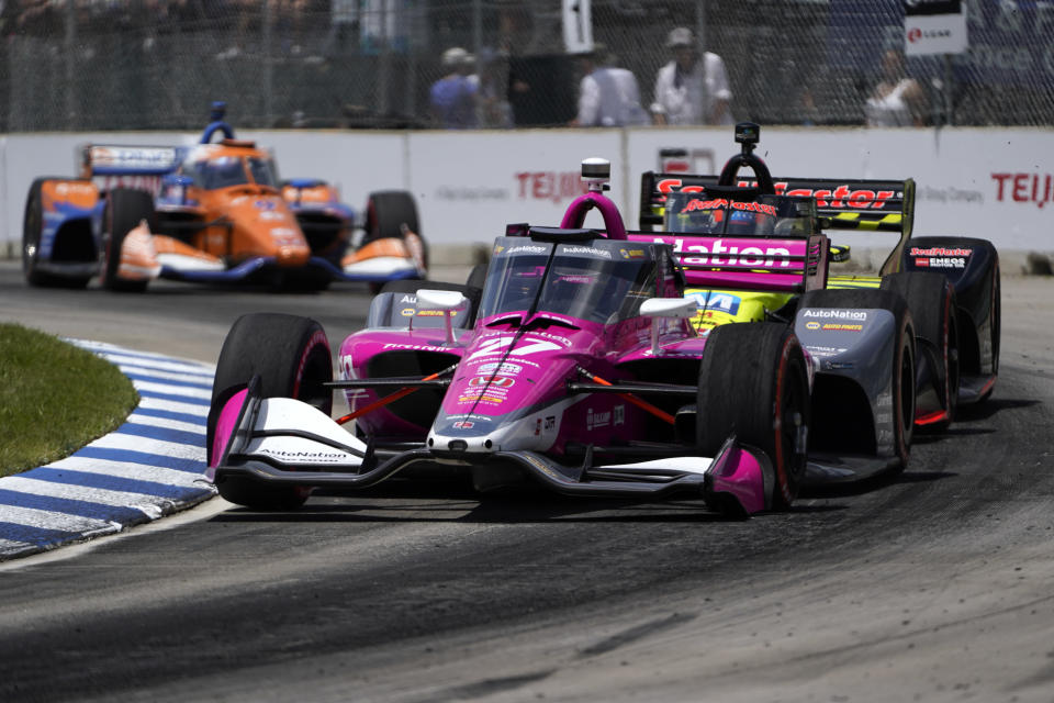 Alexander Rossi (27) races during the second race of the IndyCar Detroit Grand Prix auto racing doubleheader on Belle Isle in Detroit Sunday, June 13, 2021. (AP Photo/Paul Sancya)