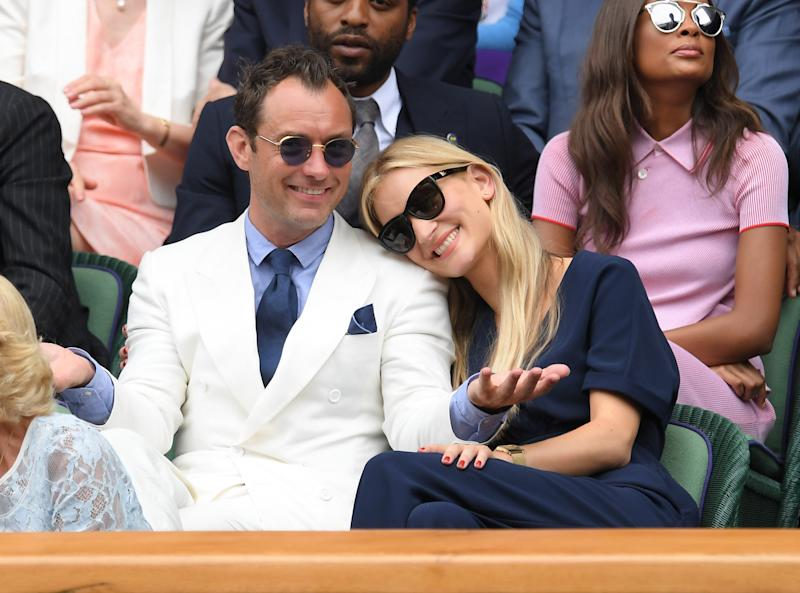 Jude Law and Phillipa Coan attend day eleven of the Wimbledon Tennis Championships at Wimbledon on July 08, 2016 in London, England. (Photo by Karwai Tang/WireImage)