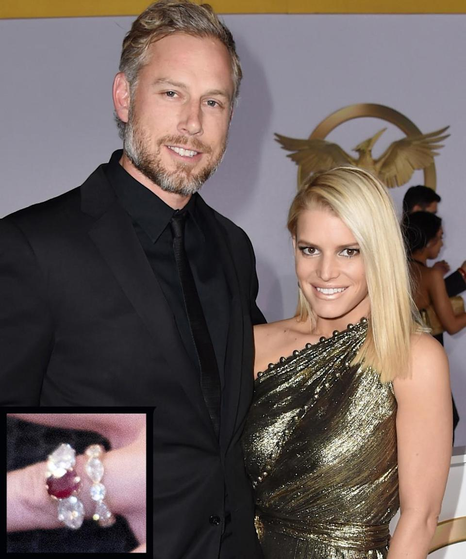 <p>Ex-NFL football player Eric Johnson proposed to fiance Jessica Simpson in 2010 with a 5-carat ruby and diamond sparkler.</p>