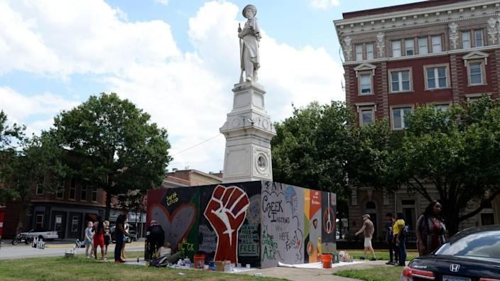 In June, people painted a #BlockTheHate mural that was constructed around the Confederate monument at the corner of Cotton Avenue and Second Street in Macon. The mural was created to block the statue from being defaced while also promoting a positive message of love and unity until the statue can be removed.