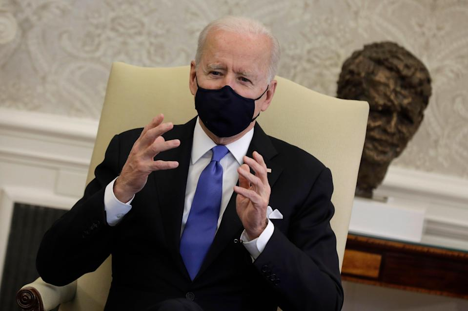 <p>President Joe Biden holds a bipartisan meeting on cancer in the Oval Office, on 03 March 2021</p> (EPA)