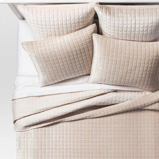 """<a href=""""https://www.target.com/p/velvet-grid-stitch-bedding-collection-project-62-153/-/A-52660611#lnk=newtab"""" target=""""_blank"""">Shop it here</a>."""