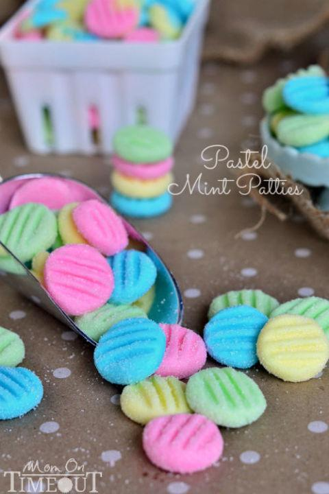 """<p>Blogger Trish uses any excuse to make these mini patties, which only take minutes to make. For Easter, she opts for pastel colors, and her kids can't get enough of them, she says. </p><p><strong>Get the recipe at <a href=""""http://www.momontimeout.com/2014/04/pastel-mint-patties/"""" rel=""""nofollow noopener"""" target=""""_blank"""" data-ylk=""""slk:Mom on Timeout"""" class=""""link rapid-noclick-resp"""">Mom on Timeout</a>.</strong></p>"""