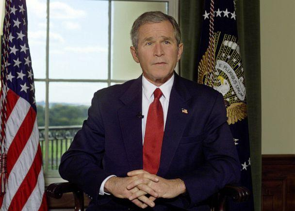 PHOTO: President Bush poses for a photo in the Treaty Room of the White House in Washington, Oct. 7, 2001, after announcing airstrikes on on Afghanistan. (Hillery Smith Garrison/AP, FILE)