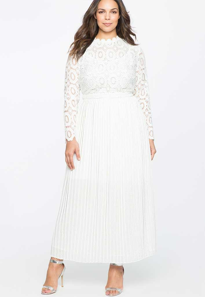 Long sleeve lace and pleated dress.