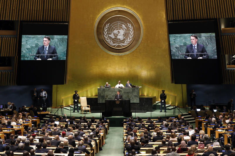 Brazil's President Jair Bolsonaro addresses the 74th session of the United Nations General Assembly, Tuesday, Sept. 24, 2019. (AP Photo/Richard Drew)