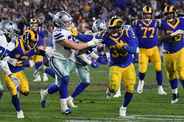 Los Angeles Rams running back C.J. Anderson didn't look old or fat on Saturday against the Dallas Cowboys. (Getty Images)