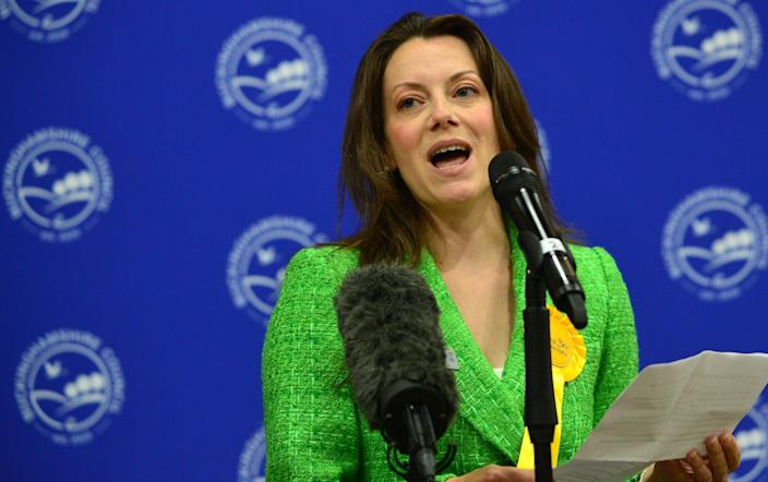 Sarah Green makes a speech after winning the Chesham and Amersham by-election - Getty
