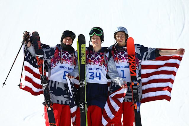 SOCHI, RUSSIA - FEBRUARY 13: (L-R) Silver medalist Gus Kenworthy of the United States, gold medalist Joss Christensen of the United States and bronze medalist Nicholas Goepper of the United States pose after the Freestyle Skiing Men's Ski Slopestyle Finals during day six of the Sochi 2014 Winter Olympics at Rosa Khutor Extreme Park on February 13, 2014 in Sochi, Russia. (Photo by Al Bello/Getty Images)