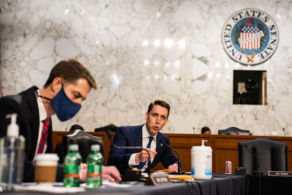 U.S. Sen. Josh Hawley (R-MO) speaks during U.S. Attorney General nominee Merrick Garland's confirmation hearing in the Senate Judiciary Committee on Capitol Hill on February 22, 2021 in Washington, DC. (Demetrius Freeman-Pool/Getty Images)