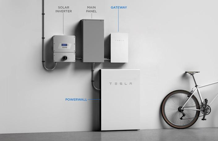 Tesla's Complete home photovoltaic system, complete with the company's new inverter.