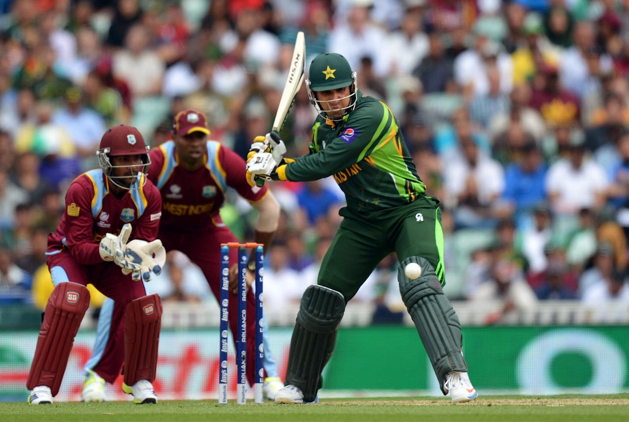 Pakistan's Misbah-ul-Haq hits a boundary during the ICC Champions Trophy match at The Oval, London.