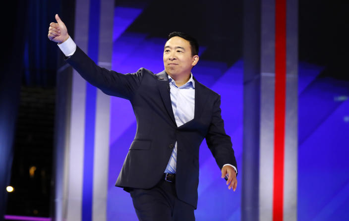 Andrew Yang takes the stage at the start of the Democratic presidential debate in Houston on Thursday night. (Photo: Jonathan Bachman/Reuters)