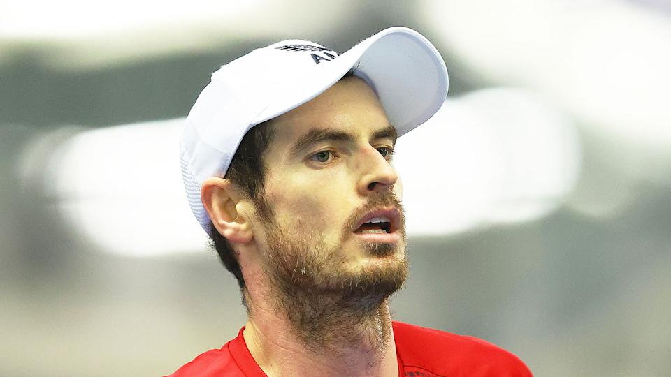 Pictured here, British tennis star Andy Murray looks frustrated on court.