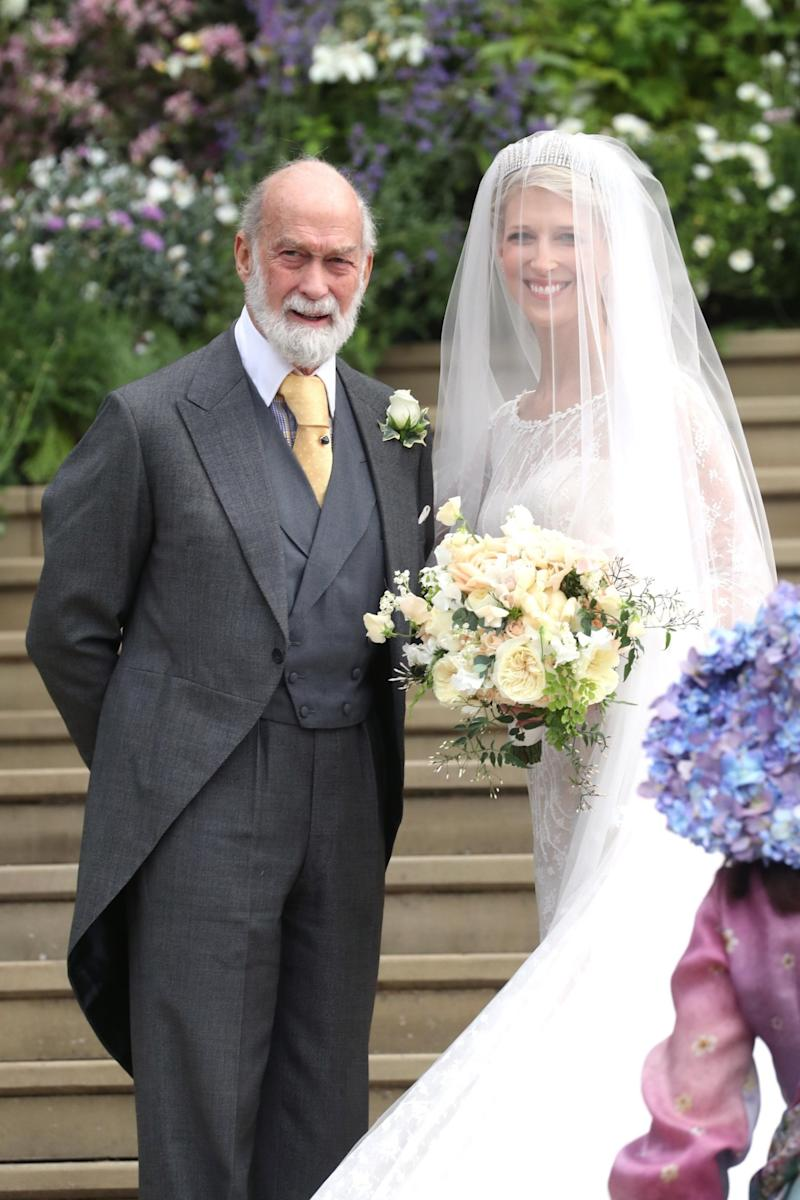 Lady Gabriella Windsor with her father Prince Michael of Kent on the steps of St George's Chapel (Getty Images)