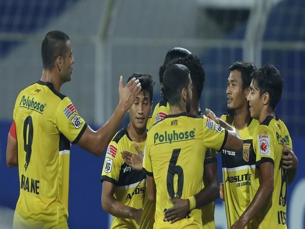 Hyderabad FC celebrate after scoring against Odisha (Photo/ Sportzpics)