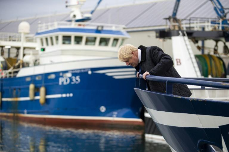 Britain's Boris Johnson spent the morning campaigning in Scotland among fishermen who strongly backed the Brexit referendum in 2016 (AFP Photo/Duncan McGlynn)