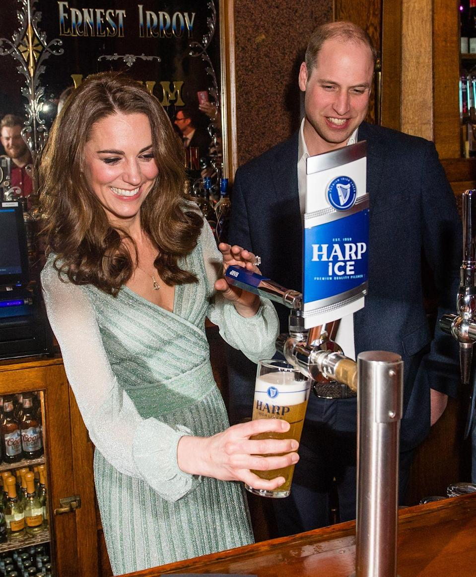 <p>Kate pulled a perfect pint during a visit to Empire Music Hall Belfast in February.</p>