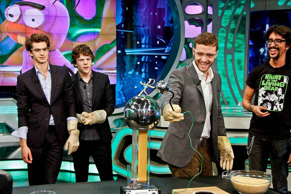 """With his """"Social Network"""" co-stars Andrew Garfield and Jesse Eisenberg standing safely out of range, Justin Timberlake tested out a crazy science experiment on Spanish TV show """"El Hormiguero"""" in Madrid Wednesday. Careful JT! Michael Murdock/<a href=""""http://www.splashnewsonline.com"""" target=""""new"""">Splash News</a> - October 6, 2010"""
