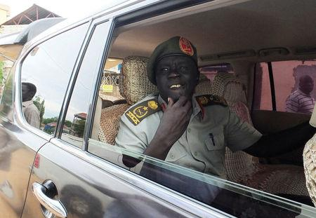 General Dau Aturjong, a senior military officer in the armed opposition faction of the Sudan People's Liberation Movement (SPLM-IO) under the leadership of the first vice-president, Riek Machar, arrives for a news conference after he defected to SPLA loyal to President Salva Kiir in South Sudan capital Juba, July 10, 2016. REUTERS/Stringer