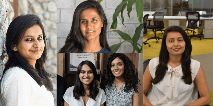 (From L to R clockwise) Srishti Mandaar, Co-founder of Red Otter Farms; Shriya Naheta, Founder of Zama Organics; Kalyani Shinde, Founder of Godaam Innovations; Anisha Goel and Shruti Jain, co-founders of Kaze Living. Picture courtesy: YourStory.