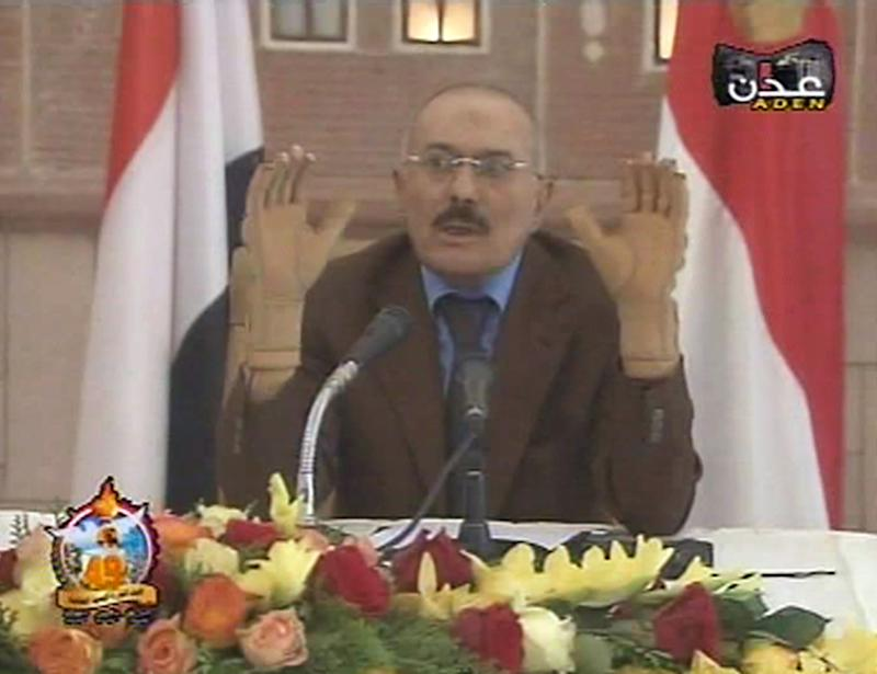 "In this image made from video, Yemen's President Ali Abdullah Saleh speaks on Yemen State Television broadcast Saturday, Oct. 8, 2011.   The TV broadcast showed Saleh talking to unidentified members of the Yemen parliament, railing against the opposition and calling the crisis a ""conspiracy"" against him.  (AP Photo/Yemen State TV)"