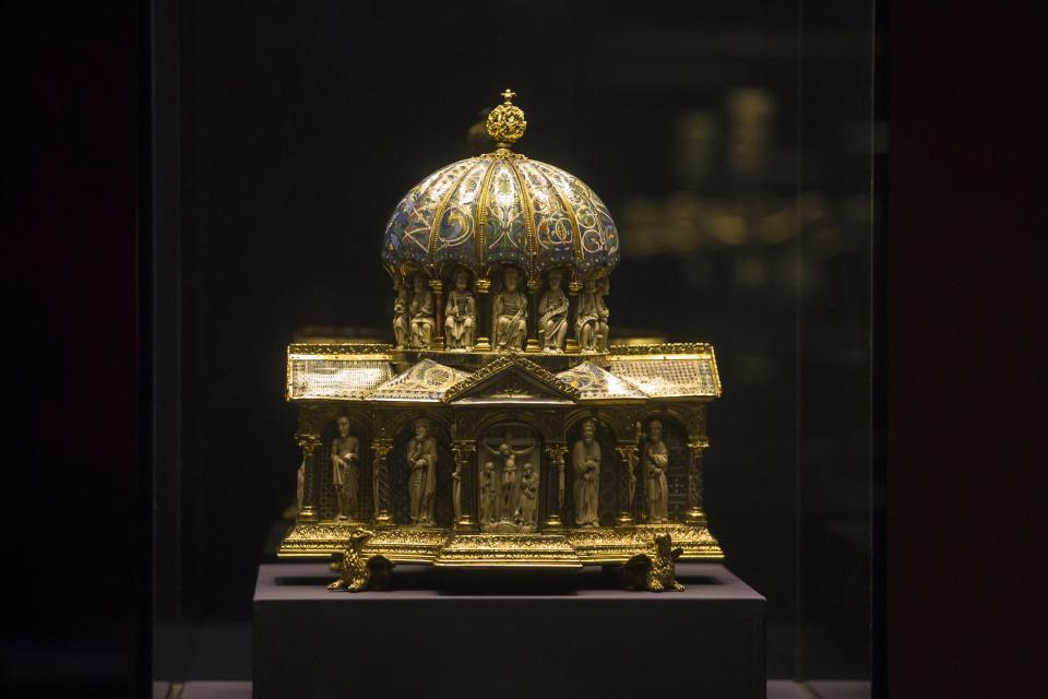 FILE - In this Jan. 9, 2014, file photo, the medieval Dome Reliquary (13th century) of the Welfenschatz, or Guelph Treasure, is displayed at the Bode Museum in Berlin. Ruling in a multi-million dollar dispute over a collection of medieval religious artworks, the Supreme Court made it harder Wednesday, Feb. 3, 2021, for certain lawsuits over property taken from Jews during the Nazi era to be brought in U.S. courts. The justices sided with Germany in a dispute involving the heirs of Jewish art dealers and the 1935 sale of a collection of Christian artwork called the Guelph Treasure. ( AP Photo/Markus Schreiber)