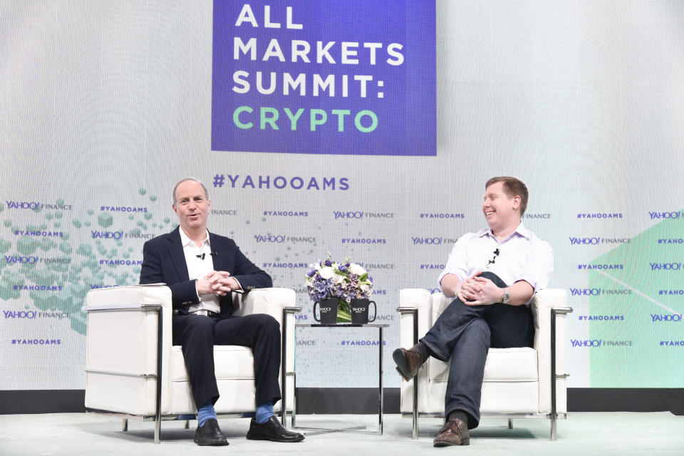 Barry Silbert (right) chatted with Yahoo Finance Editor in Chief Andy Serwer at the Yahoo Finance All Markets Summit: Crypto on February 7, 2018 in New York City. (Photo by Eugene Gologursky/Getty Images for Yahoo Finance)