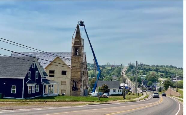 Island resident Kris Taylor has been renovating the old Catholic church in Hunter River for about two years.  (Submitted by Kris Taylor - image credit)