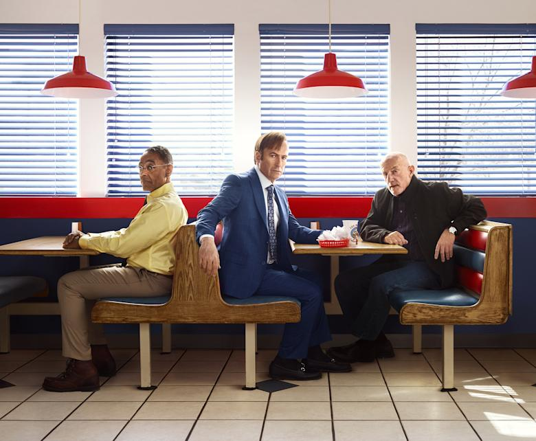 "Bob Odenkirk as Jimmy McGill, Giancarlo Esposito as Gustavo ""Gus"" Fring, Jonathan Banks as Mike Ehrmantraut - Better Call Saul _ Season 3, Gallery - Photo Credit: Robert Trachtenberg/AMC/Sony Pictures Television"