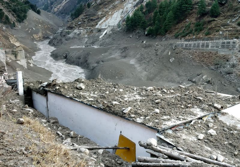 A view shows damage after a Himalayan glacier broke and crashed into a dam at Raini Chak Lata