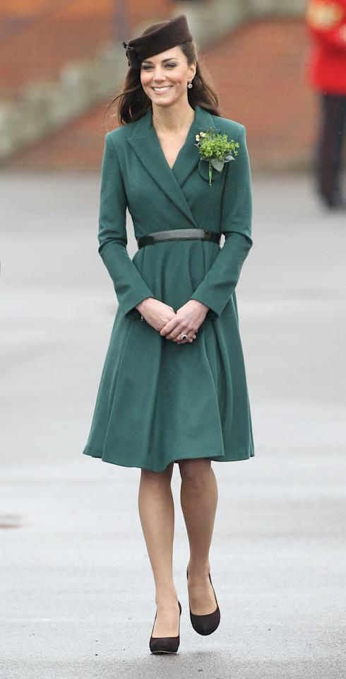 <p>Emilia Wickstead makes an appearance again! On St. Patrick's Day, the Duchess presented shamrocks to the Irish Guards.</p>